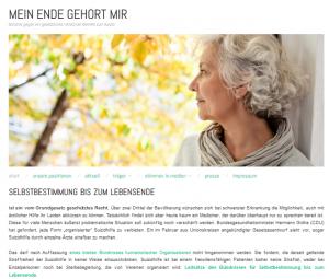 """Website der Initiative """"Mein Ende gehört mir"""""""